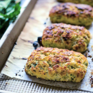 A close up of food, with ricotta scones