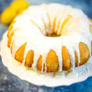 A close up of a lemon bundt cake