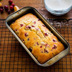 A pan of cranberry quick bread on a table