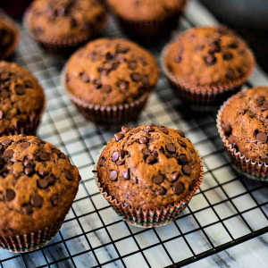 A bunch of chocolate chip muffins
