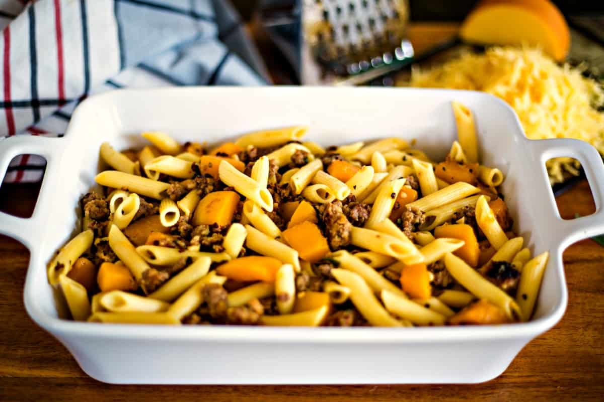 Butternut Squash Italian Sausage Pasta Bake before putting in oven