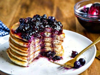 Lemon Poppy Seed Pancakes with Blueberry Compote