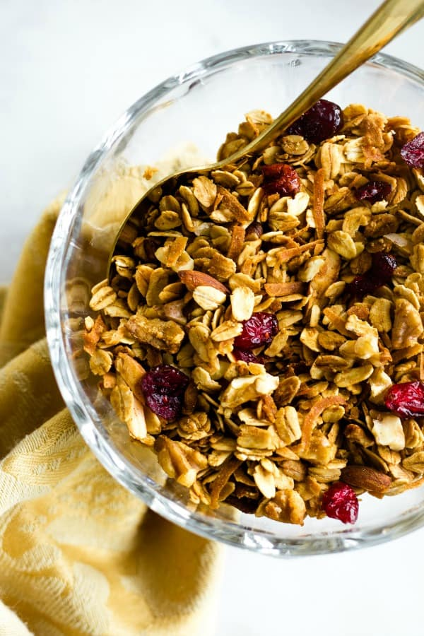 nutty granola with walnuts, almonds, and pecans