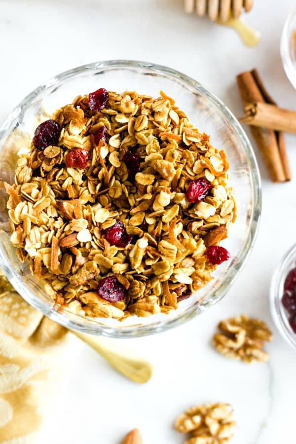 Nutty Graola Cereal served with dried cranberries