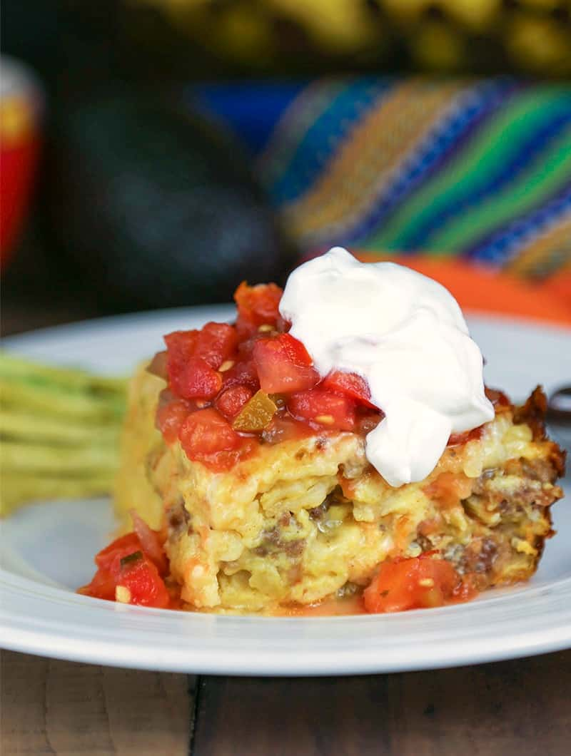 A close up of a serving of Southwestern Frittata Breakfast Casserole on a plate