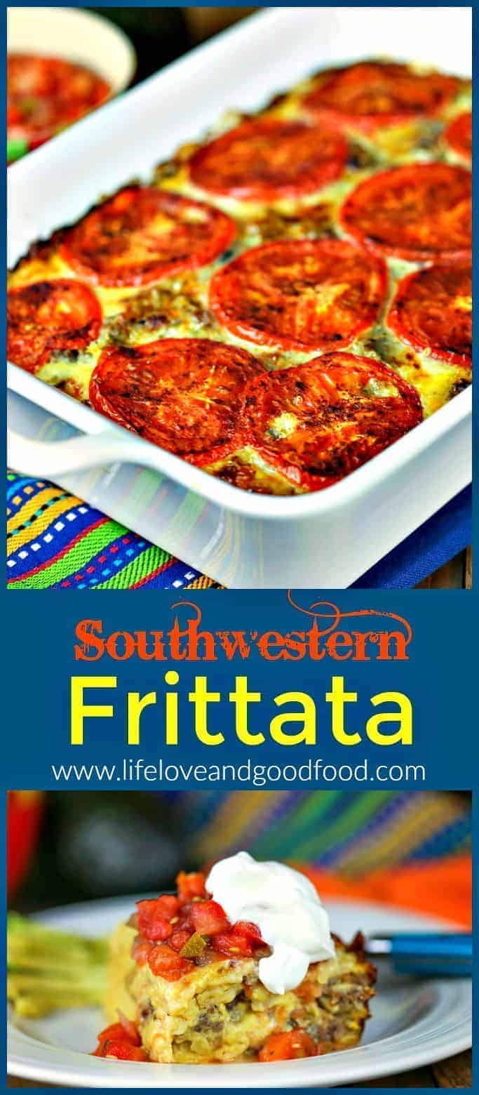 Southwestern Frittata has a soft tamale-like texture and is loaded with pepper jack cheese and garnished with thinly sliced fresh tomatoes. | Life, Love, and Good Food