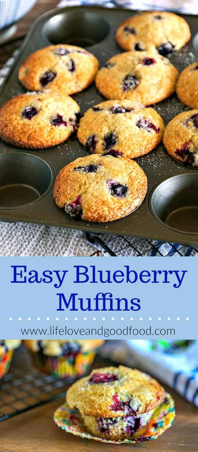 Wake up your week with a batch of these Easy Blueberry Muffins. Bursting with juicy berries, this recipe works well with either fresh or frozen blueberries. #muffins #blueberries #brunch #breakfast #baking #quickbread