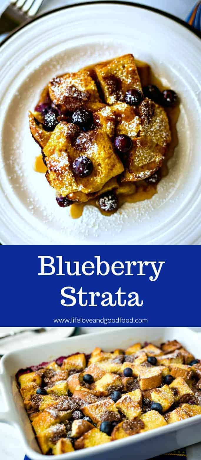 One of my favorite sweet breakfast options for weekend brunch menus, this Blueberry Strata recipe is so easy to prep! Layer cubes of Texas toast with blueberries and pour over the whipped eggs, cover with plastic wrap, and refrigerate overnight. Bake for 45-60 minutes the next morning and serve hot with maple syrup. #breakfaststrata #overnightfrenchtoast #blueberryfrenchtoast