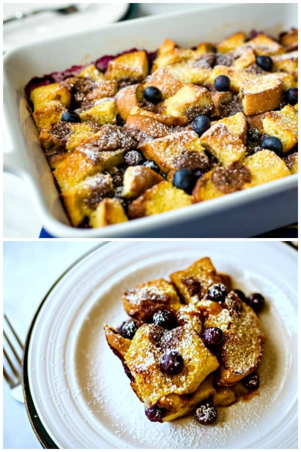 A plate of food, with Blueberry Strata