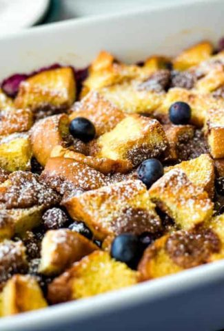 freshly baked Blueberry Strata in a white casserole dish