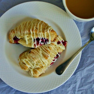 Raspberry Scones with White Chocolate Drizzle