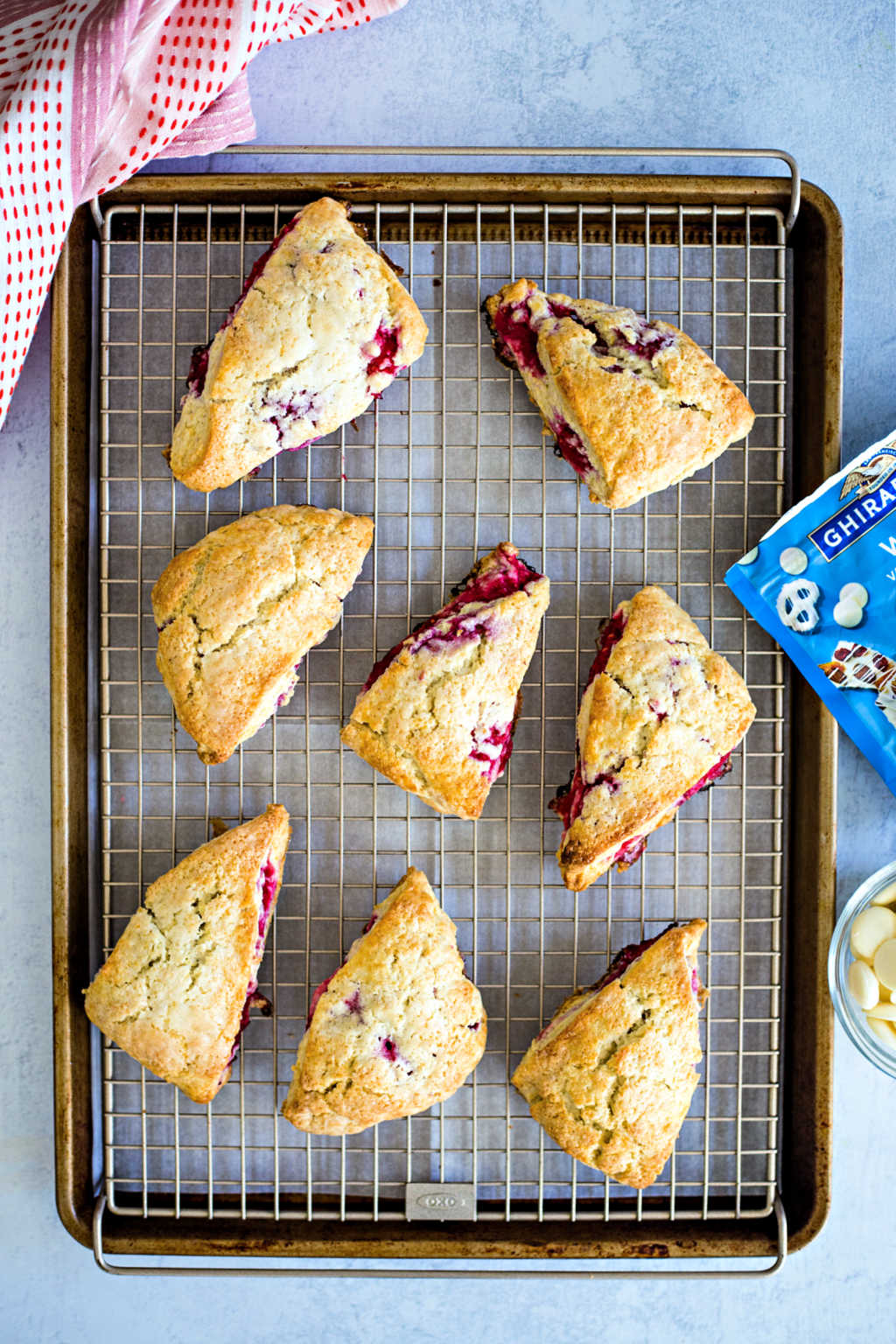 raspberry scones cooling on a wire rack