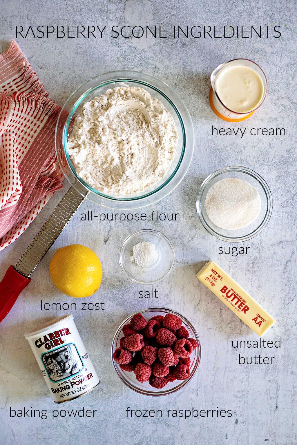 ingredients for raspberry scones