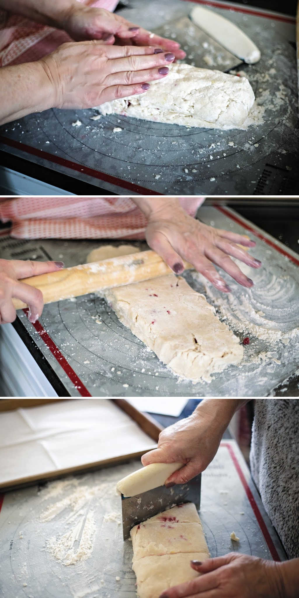 process steps for shaping and cutting scones