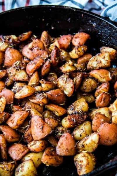 roasted red potatoes in cast iron