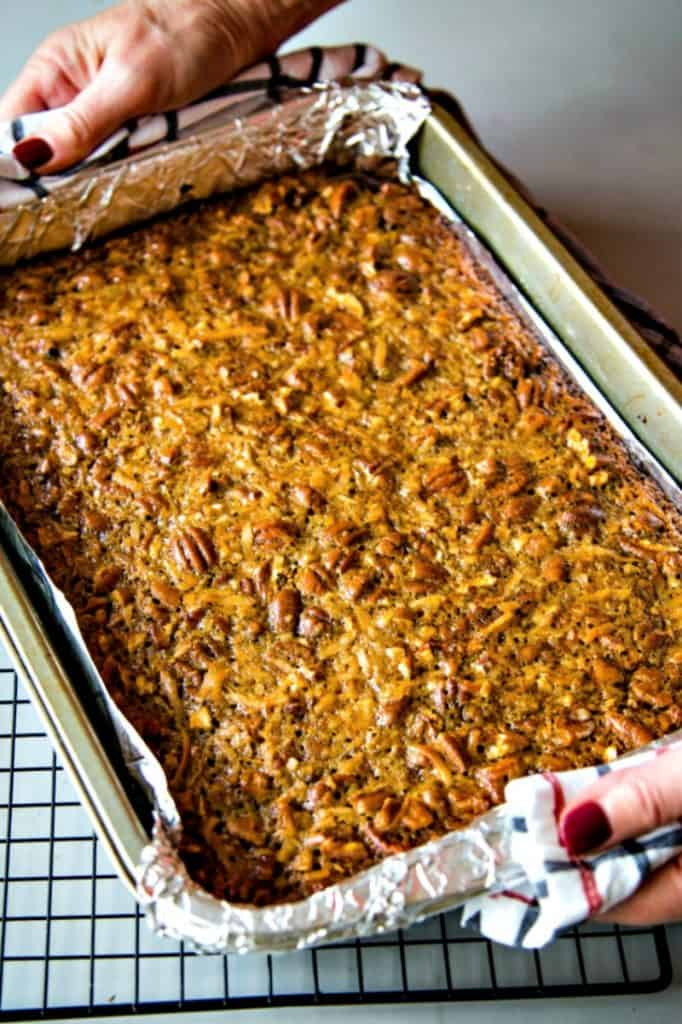 A pan of german chocolate pecan pie bars just out of the oven