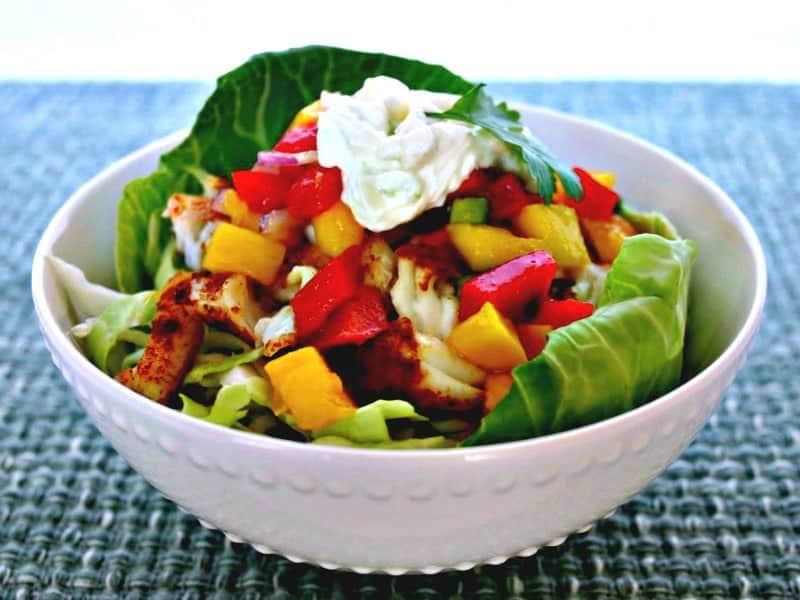 Fish Taco Bowl with Mango Salsa and Cilantro Lime Crema   Life, Love, and Good Food