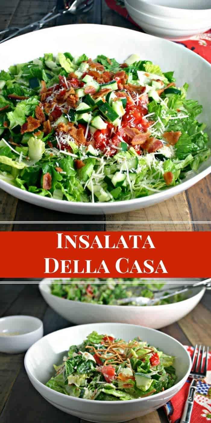 A bowl of salad on a table, with insalata della casa and Ranch dressing