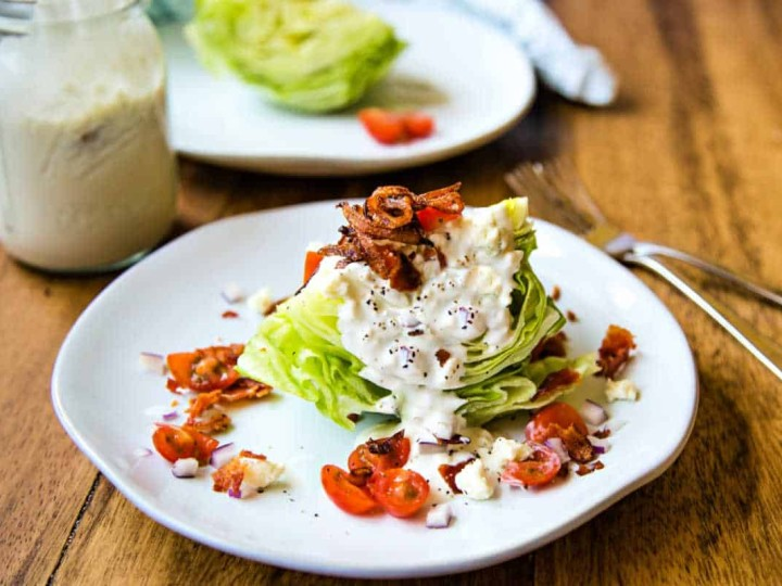 wedge salad with buttermilk blue cheese dressing