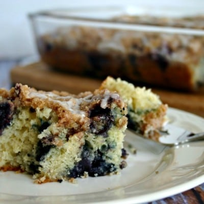 Blueberry Crumb Cake with Lemon Glaze