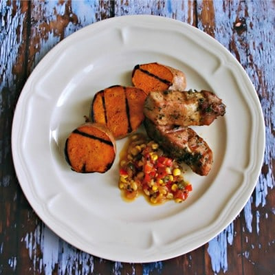 Country-Style Ribs with Grilled Sweet Potatoes & Chowchow