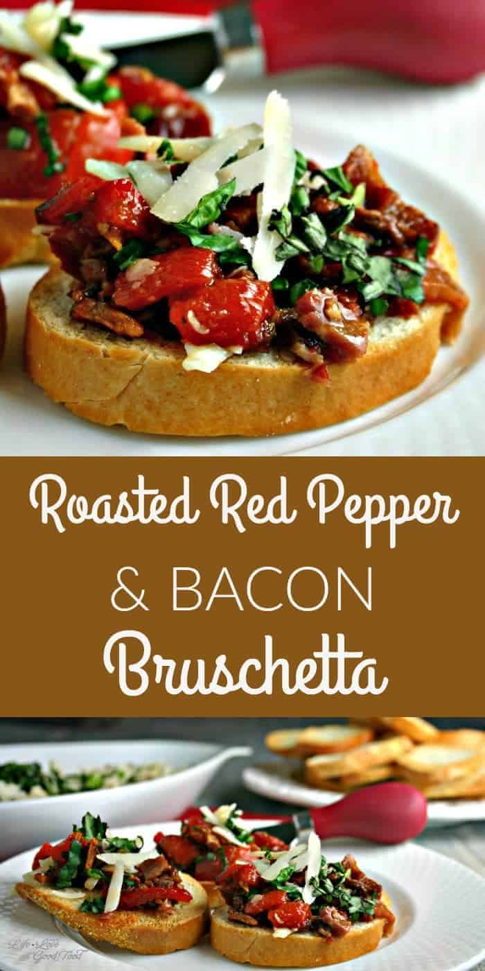 A plate with a slice of baguette topped with Roasted Red Pepper and Bacon Bruschetta