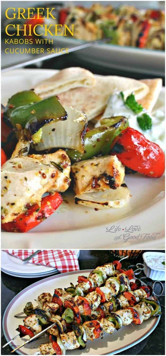 Serve Greek Chicken Kabobs with pita bread and cucumber sauce for a quick, easy, healthy, and delicious meal.