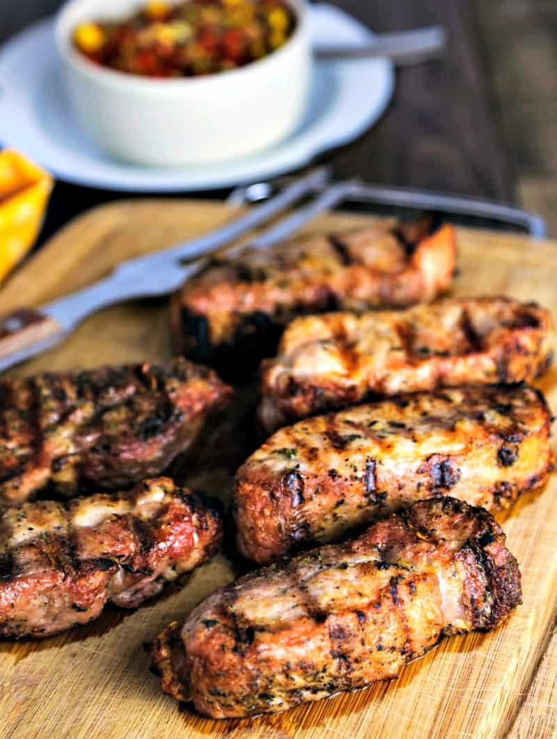 Grilled Country-Style Pork ribs on a cutting board