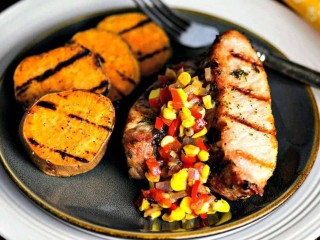 Country-Style Ribs with Grilled Sweet Potatoes & Chow Chow