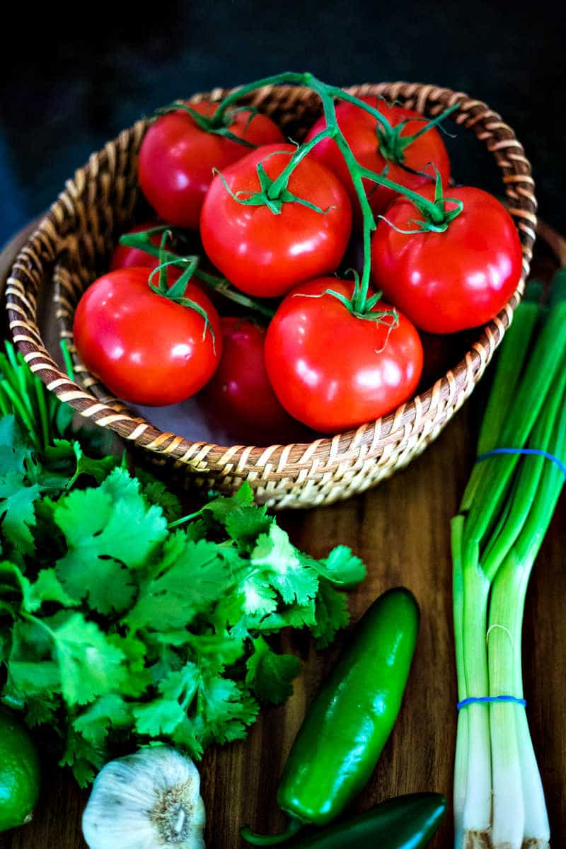 salsa ingredients, tomatoes, cilantro, garlic, jalapeno, green onions, lime