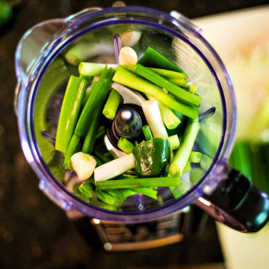 green onions and jalapeno in a food processor