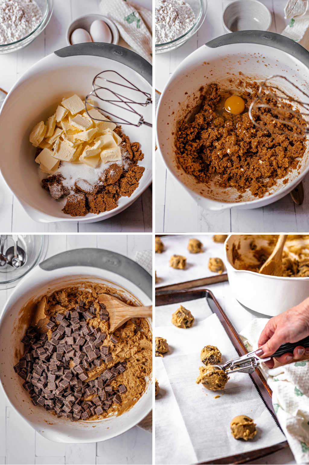 process steps for making chocolate chunk cookies.