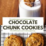chocolate chunk cookies on a wire cooking rack.