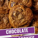 close up image of chocolate chunk cookies.