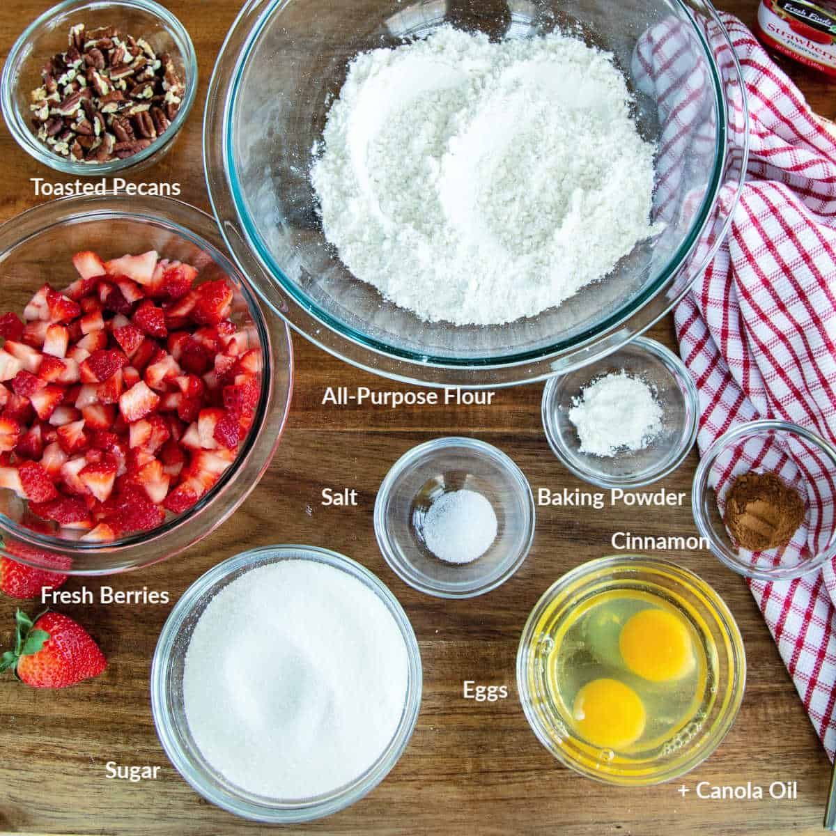 ingredients for strawberry bread