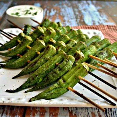 Peppery Grilled Okra & Lemon-Basil Dipping Sauce