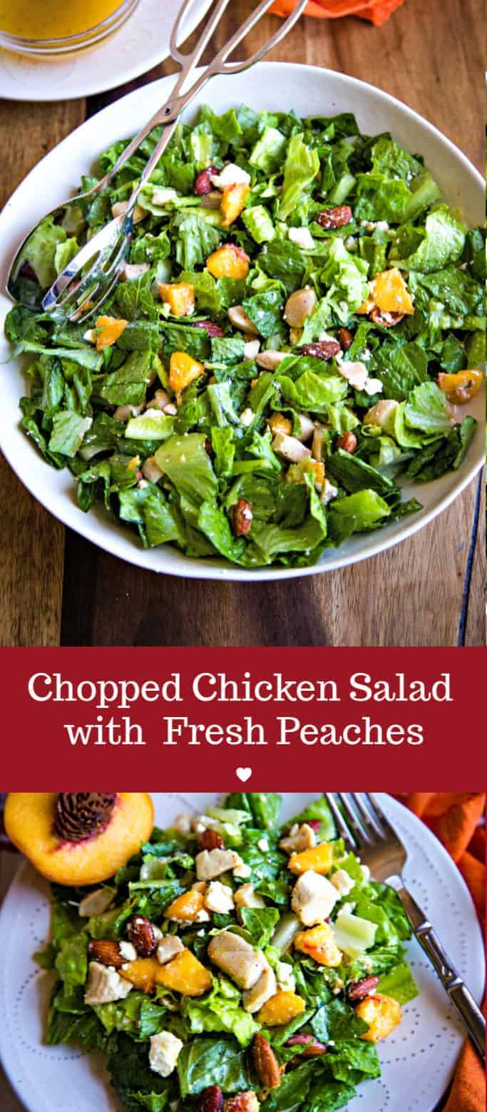 The BEST chopped chicken salad!! Add fresh peaches, Feta cheese, smoked almonds, and a sweet citrus vinaigrette for a perfect light and healthy dinner! #salad #choppedsalad #chicken #peaches