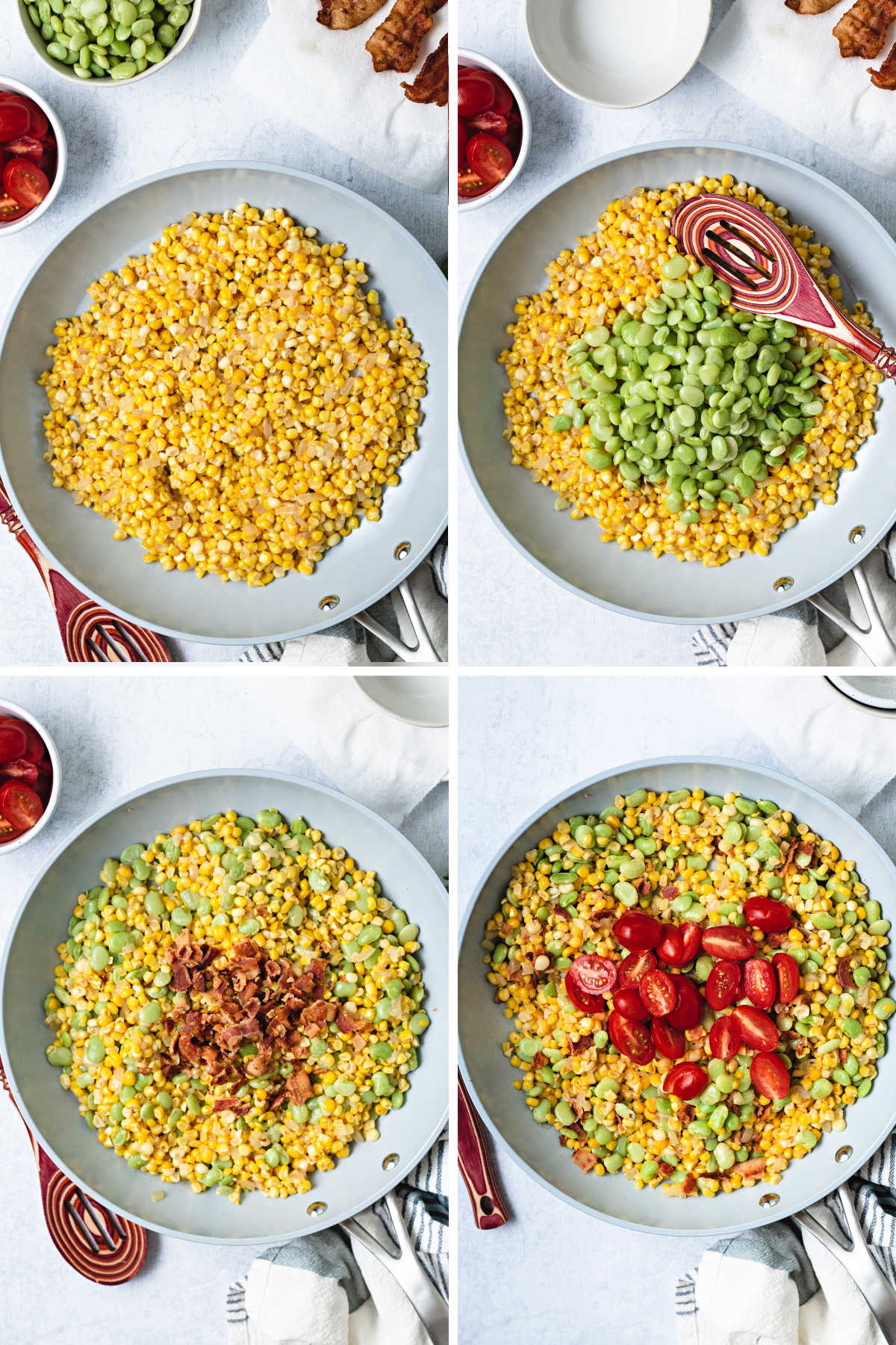 process shots for cooking corn succotash: saute corn and onions; add lima beans; add bacon; add tomatoes.