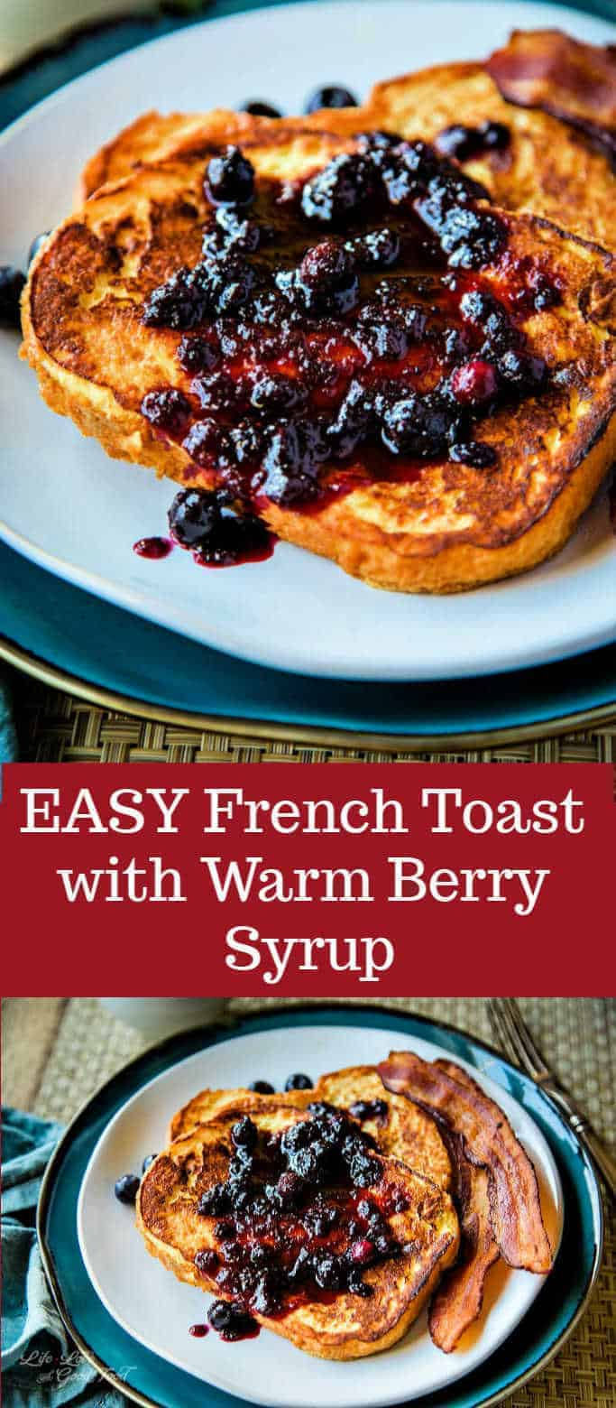 Easy French Toast is a classic breakfast recipe made by dipping thick slices of French bread (or an Italian brioche) into a vanilla-flavored egg custard and frying until toasty and crisp. Properly cooked, the bread remains soft and custardy on the inside. Drizzle this Easy French Toast with a simple homemade warm berry syrup and you have yourself a delicious breakfast treat! #frenchtoast #breakfast #brunch