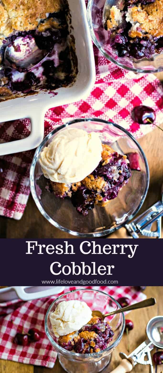 With a buttery crust and a sweet filling of fresh Bing cherries, this yummy Fresh Cherry Cobbler is best served warm with a scoop of vanilla ice cream! #cherrycobbler #fruitcobbler #cherrypie