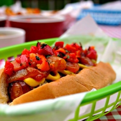 NY Street Dogs + Onion Sauce and Red Pepper Relish