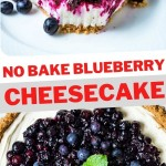 a slice of no bake blueberry cheesecake with a bite missing on a white plate.
