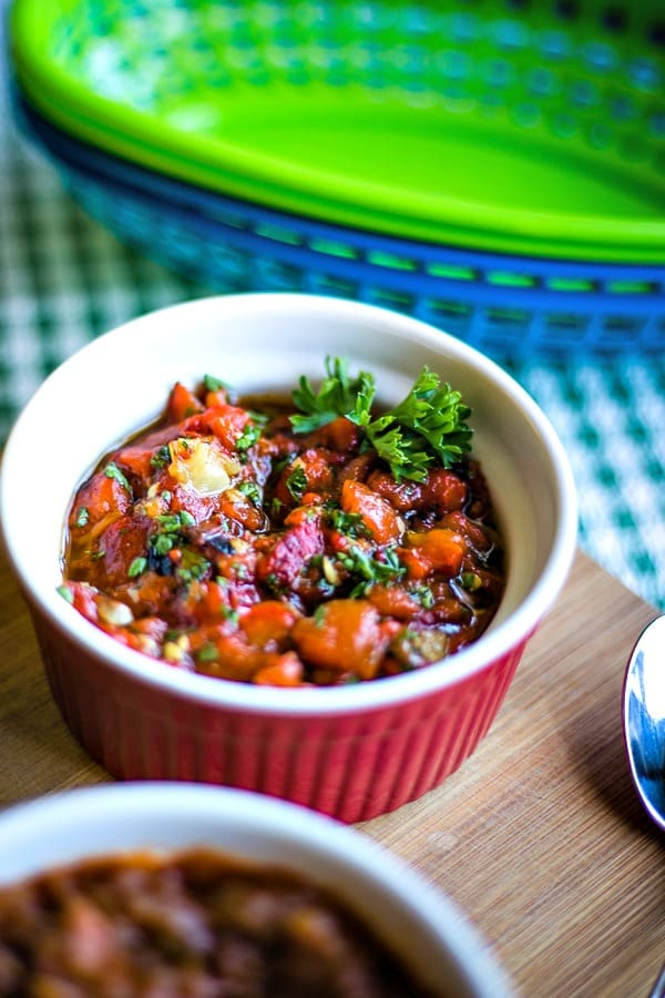 roasted red pepper relish in a red bowl