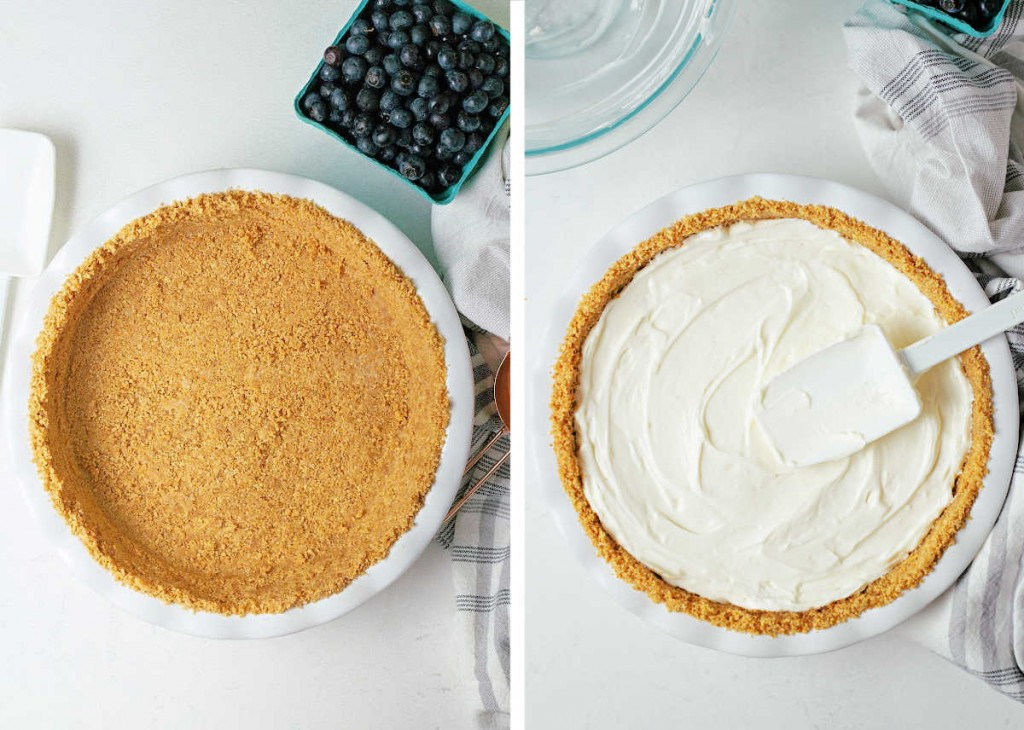 process steps for preparing a no bake cheesecake: graham cracker crust in pie dish; smooth filling into crust.