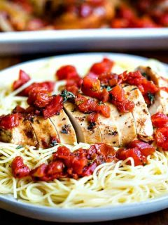 Slow Cooker Balsamic Chicken on a bed of angel hair pasta