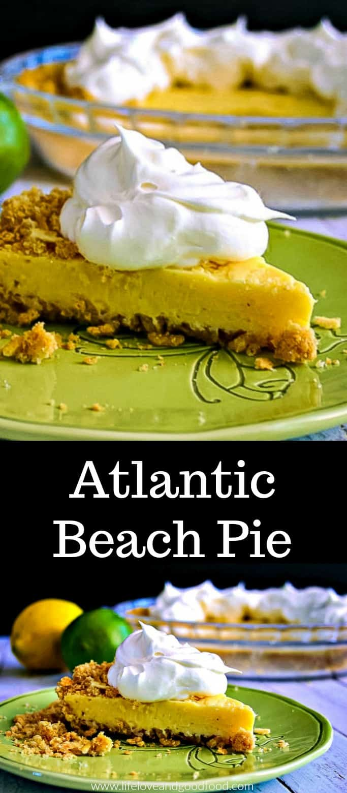 Atlantic Beach Pie is a delicious mix of creamy lemon-lime fillingand a salty-sweet crust made from saltine crackers. #lemonpie #lemondessert