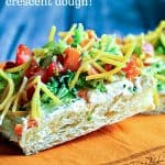Cool Veggie Pizza Appetizer with creamy Ranch spread and fresh veggies and cheese
