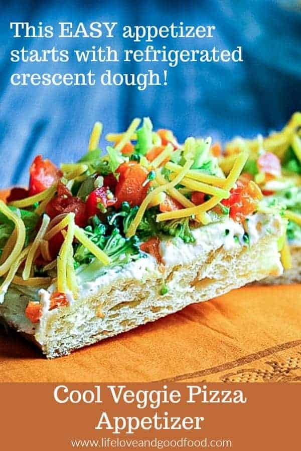 Cool Veggie Pizza Appetizer starts with a refrigerated crescent dough! #EASY #appetizer #RanchDressing #veggies #partyfood #coldappetizer