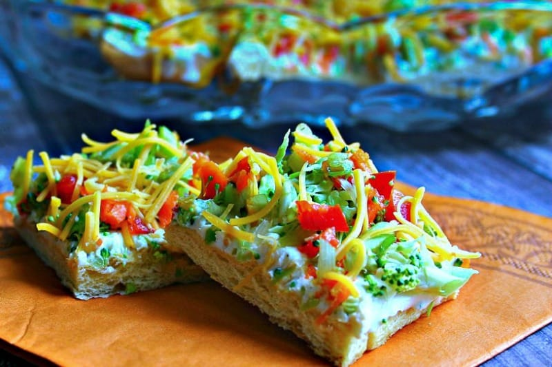 Cool Veggie Pizza Appetizer starts with a refrigerated crescent dough!