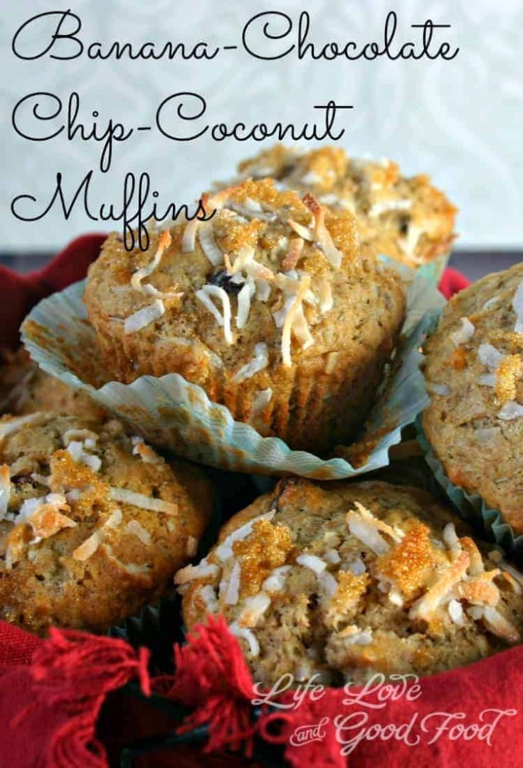 These banana muffins are chock full of chocolate chips, pecans, and coconut with a yummy toasted coconut-brown sugar topping.